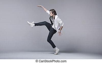 bonito, acrobático, pose, homem