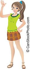 bonito, adolescente, ilustração, waving, sorrir., menina,...