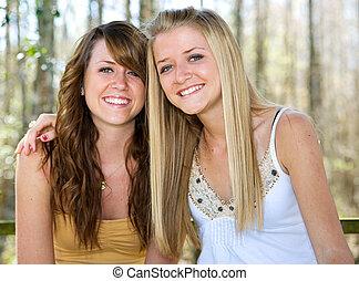 bonito, adolescente, madeiras, irmãs