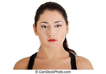 bonito, adolescente, retrato mulher