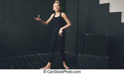 bonito, adolescente, Salão baile,  perfomance, dança, modernos, contemporâneo, dançarino, menina, Dentro