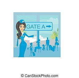 bonito, aeroporto, turistas, stewardess