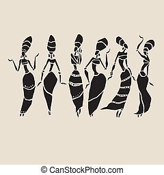 bonito, africano, mulheres