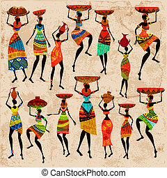 bonito, africano, retro, mulheres