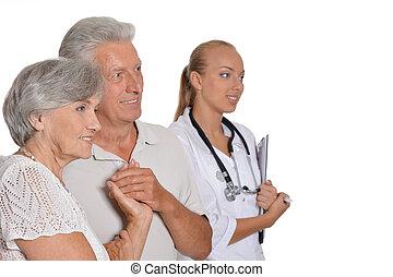 bonito, agradável, enfermeira, com, idoso, paciente