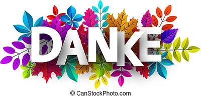 bonito, agradecer, coloridos, leaves., tu, cartão