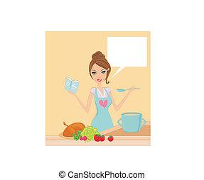 bonito, almoço, cozinhar, senhora, cookbook