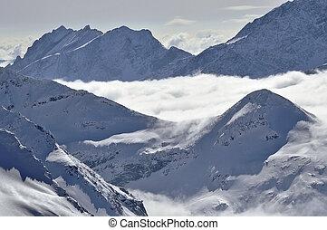 bonito, alpes, nuvens, inverno, acima, nevoeiro, paisagem