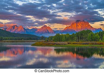 bonito, amanhecer, montanhas
