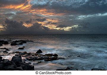 bonito, amanhecer, oceânicos