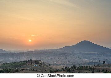 bonito, amanhecer, sobre, campo, paisagem