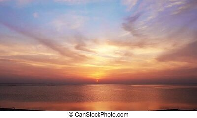 bonito, amanhecer, sobre, mar