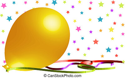 bonito, amarela, balloon, fundo