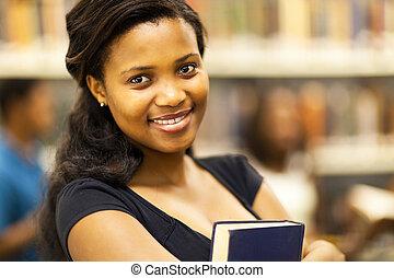 bonito, americano africano, faculdade, menina