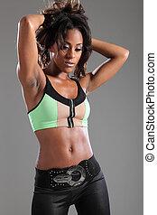 bonito, americano africano, modelo, cabelo marrom longo
