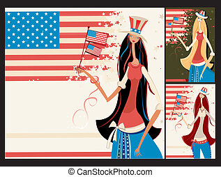 bonito, americano, jogo, meninas