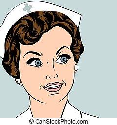 bonito, amigável, e, confiante, enfermeira