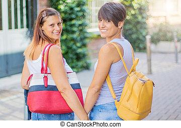 bonito, andar, na moda, saco, rua, mulheres