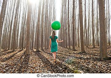 bonito, andar, vestido, menina, floresta, verde, loiro