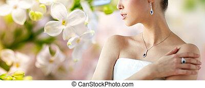 bonito, anel, mulher, brinco pendente