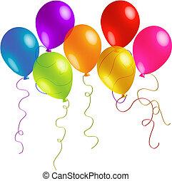 bonito, aniversário, balões, com, longo, fitas