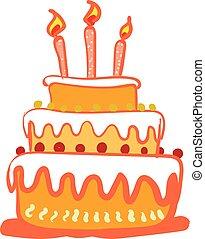 bonito, aniversário, clipart, cor, velas, três, ilustração, desenho, glowing, vetorial, three-layered, bolo, ou, celebração