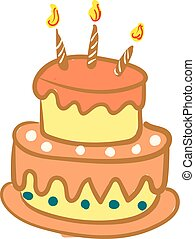 bonito, aniversário, cor, velas, ilustração, desenho, glowing, vetorial, bolo, decorado, ou