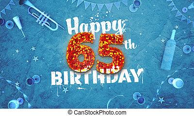 bonito, aniversário, detalhes, feliz, cartão, 65th