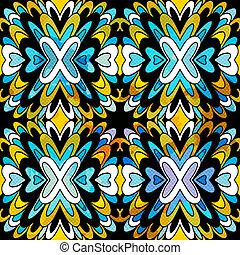 bonito, antigüidade, padrão, tribal, seamless, monocromático