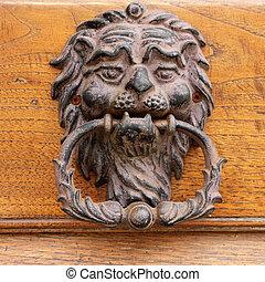 bonito, antigas, aldrava porta, em, tuscany, itália, europa