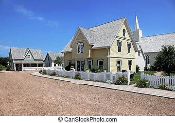 bonito, antigas, casa amarela, em, verão