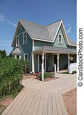 bonito, antigas, casa verde, em, verão