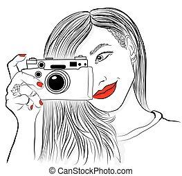 bonito, antigas, illustration., fotógrafo, lábios, vetorial, câmera., monocromático, menina sorri, vermelho, nails.
