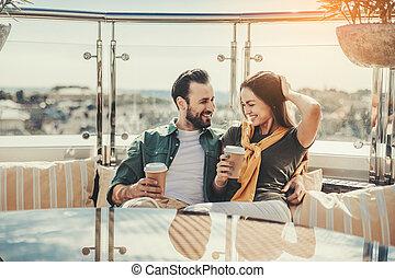 bonito, ao ar livre, par, data, café, tendo