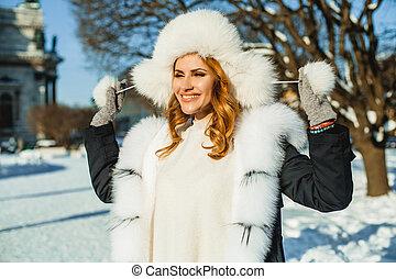 bonito, ao ar livre, pele, inverno, mulher, chapéu
