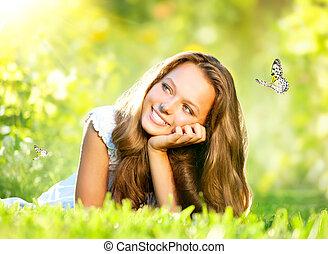 bonito, ao ar livre, primavera, verde, beauty., menina, capim, mentindo