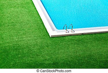 bonito, ao redor, grama verde, piscina, natação
