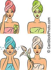 bonito, após, toalha, mulheres