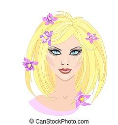 bonito, apartamento, illustration., menina, cabelo, vetorial, loiro, flores, style.