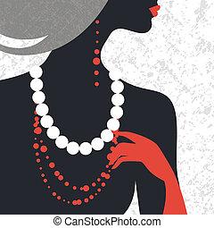 bonito, apartamento, mulher, silhouette., desenho moda