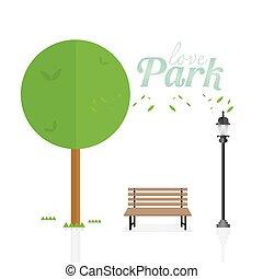 bonito, apartamento, natural, park.environmentally, landscape.vector, love., parque, ilustração, style., experiência verde, branca, amigável, paisagem