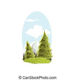 bonito, apartamento, vetorial, sempre-viva, illustration., coloridos, montanha, floresta, cena natureza, mão, peak., árvore., paisagem, coniferous, desenhado, botânico, abetos, print.