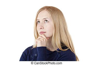 bonito, aproximadamente, mulher, jovem, loura, problema, pensa