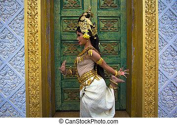 bonito, apsara, dançarino, sobrenatural, fêmea asiática, ...