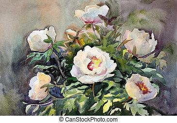 bonito, aquarela, flowers., quadro