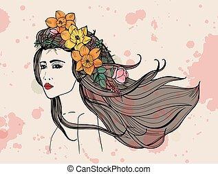 bonito, aquarela, mulher, illustration., coloridos, fluir, mão, flores, stains., hair., retrato, desenhado, menina, moda