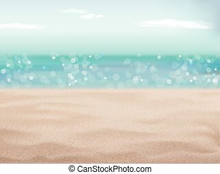 bonito, areia, de, cena praia, fundo