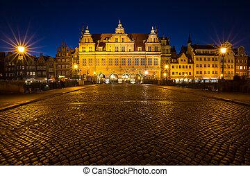 bonito, arquitetura, de, a, cidade velha, de, gdansk, poland.