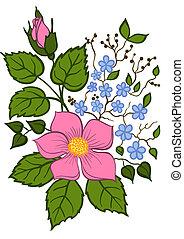 bonito, arranjo, fundo, floral, branca, mão, desenho