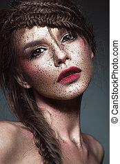 bonito, arte, beleza, face., criativo, estranho, make-up., menina